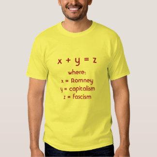 Romney plus le capitalisme égale le fascisme tshirts