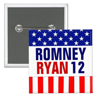 Romney Ryan 2012 2 Inch Square Button