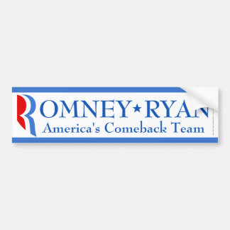Romney Ryan 2012, America's Comeback Team Decal