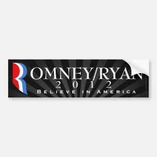 Romney/Ryan 2012, Believe in America, Black Decal Bumper Sticker