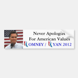 Romney / Ryan 2012 Never Apologize for America Bumper Sticker