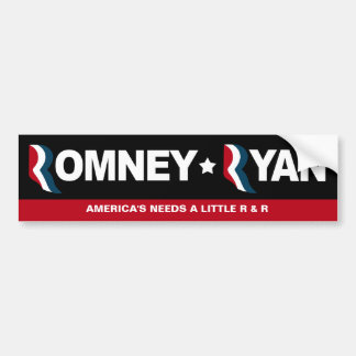 Romney / Ryan 2012 - Time for some R & R Bumper Sticker