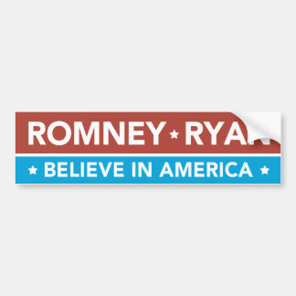 Romney Ryan Believe In America Bumper Sticker