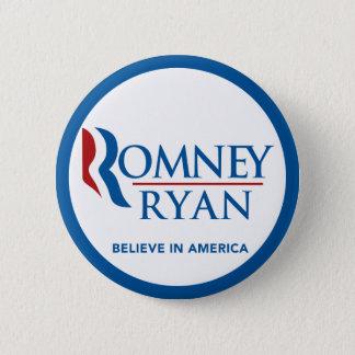 Romney Ryan Believe In America Round Blue Border 2 Inch Round Button
