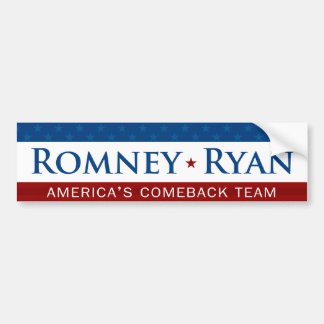 Romney & Ryan Comeback Team Bumper Sticker