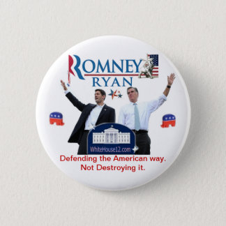 Romney-Ryan: Defending the American Way. 2 Inch Round Button