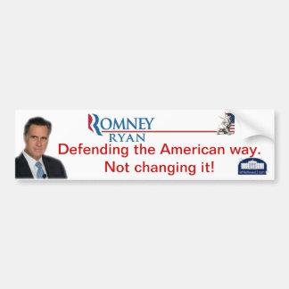 Romney-Ryan: Defending The American Way Bumper Sticker
