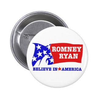 Romney Ryan Eagle Flag 2 Inch Round Button