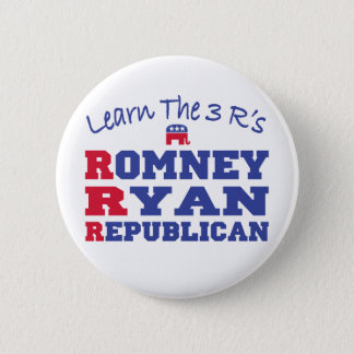 Romney Ryan Learn the 3 R's 2 Inch Round Button