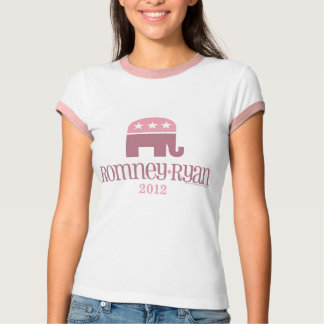 Romney/Ryan Pink Elephant Republican Women T-Shirt