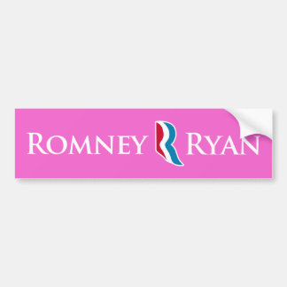 Romney Ryan R Logo Pink Background Bumper Sticker