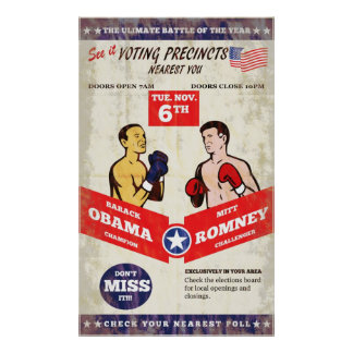 Romney Vs Obama American Elections 2012 Boxing Pos Poster