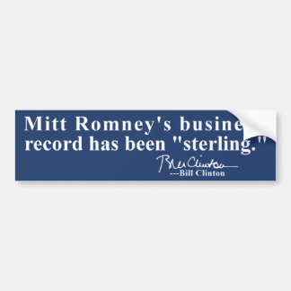 "Romney's Business Record ""Sterling"" Bumper Sticker"