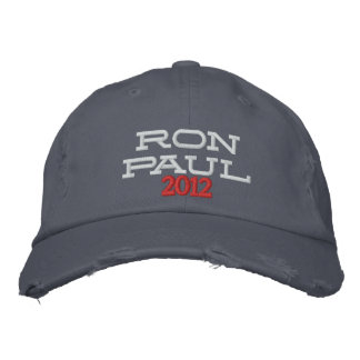 RON PAUL 2012 Embroidered Distressed Chino Twill Embroidered Baseball Caps