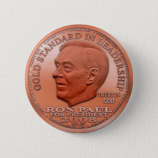 """Ron Paul """"Banned"""" Copper Liberty Dollar...Button! 2 Inch Round Button"""