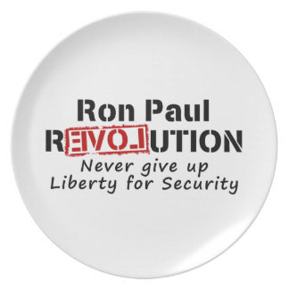 Ron Paul rEVOLution Never give up Liberty Dinner Plates