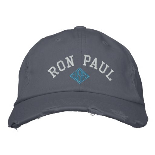 RON PAUL U.S.A. Ladies Distressed Chino Twill Cap Embroidered Baseball Cap