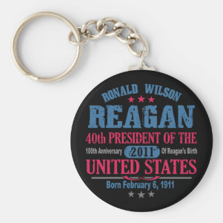 Ronald Reagan Basic Round Button Keychain