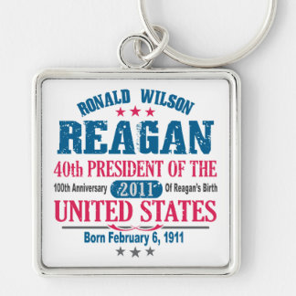 Ronald Reagan Silver-Colored Square Keychain