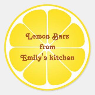 Rond supérieur de citron de cadeau d étiquette de adhésif rond