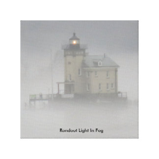 Rondout Light In Fog Canvas Print