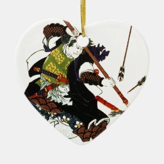 Ronin Samurai Deflecting Arrows Japanese Japan Art Ceramic Ornament