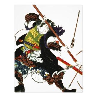 Ronin Samurai Deflecting Arrows Japanese Japan Art Letterhead