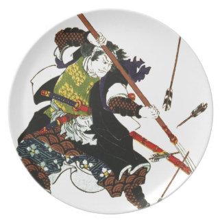 Ronin Samurai Deflecting Arrows Japanese Japan Art Party Plates