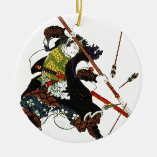 Ronin Samurai Deflecting Arrows Japanese Japan Art Round Ceramic Ornament