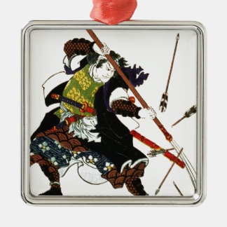 Ronin Samurai Deflecting Arrows Japanese Japan Art Silver-Colored Square Ornament