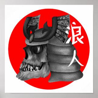 Ronin Samurai Japan Flag Skull Poster