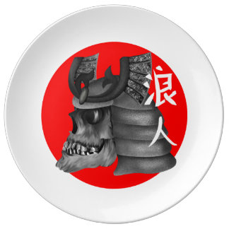 Ronin Samurai Skull Porcelain Plate