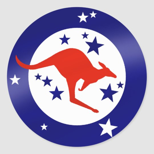 Roo sticker Oz stars Australian Kangaroo