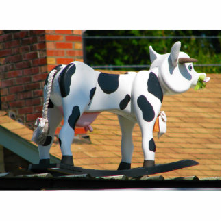 Roof Cow Standing Photo Sculpture