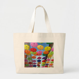 Roof of umbrellas large tote bag