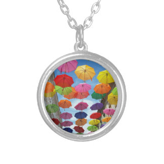 Roof of umbrellas silver plated necklace