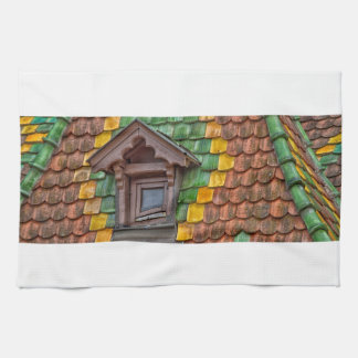 roof tiles with color in Obernai - Alsace - France Kitchen Towel