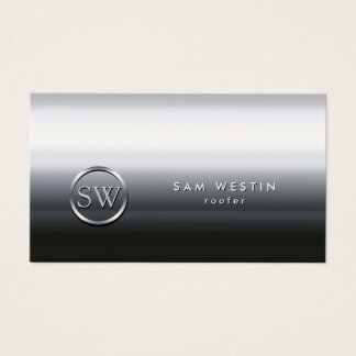 Roofer Chrome Monogram Business Card