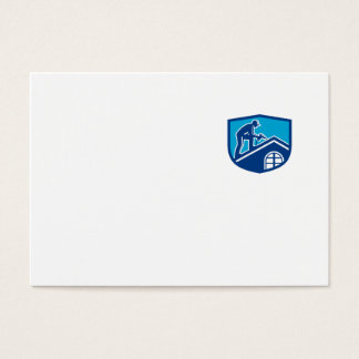 Roofer Construction Worker Working Shield Retro Business Card