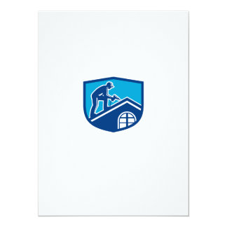 Roofer Construction Worker Working Shield Retro Card