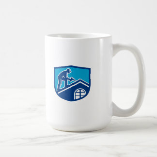Roofer Construction Worker Working Shield Retro Coffee Mug