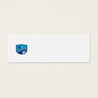 Roofer Construction Worker Working Shield Retro Mini Business Card