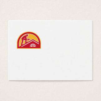 Roofer Working on Roof Half Circle Retro Business Card