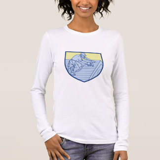 Roofer Working On Roof Shield Mono Line Long Sleeve T-Shirt