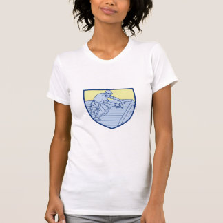 Roofer Working On Roof Shield Mono Line T-Shirt