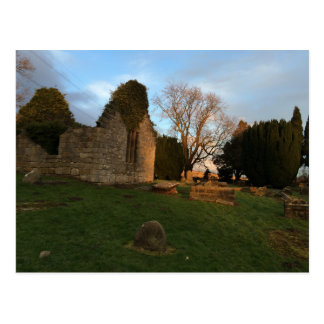 Roofless Kirk Ruins at Sunset Postcard