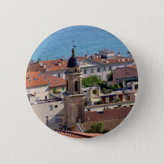 Roofs and Basilica at Menton in France 2 Inch Round Button