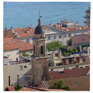 Roofs and Basilica at Menton in France Napkin
