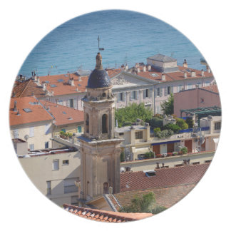Roofs and Basilica at Menton in France Plate