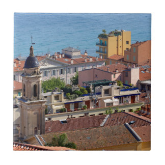 Roofs and Basilica at Menton in France Tile